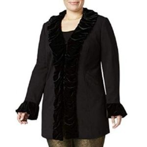 INC Plus Size Velvet Ruffle Coat Deep Black NWT